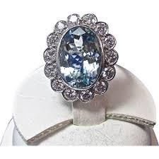 aquamarine engagement rings vintage estate 1950 u0027s aquamarine diamond engagement wedding from