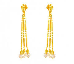 gold ear ring images 22kt gold earring with white gold work erln19397 22k gold