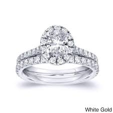 oval cut engagement rings auriya 14k gold 1ct tdw certified oval cut halo engagement