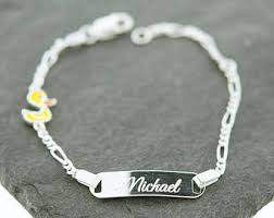 baby name plate bracelet silver baby bracelet etsy