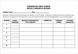 elementary progress report template weekly progress report template for academic or elementary