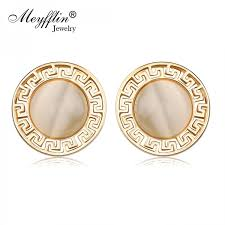 earrings brand brand fashion jewelry gold earrings opal circle stud earrings for