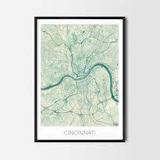 Home Decor Cincinnati Cincinnati Gift Map Art Prints And Posters Home Decor Gifts