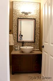 Powder Room Vanity With Vessel Sink Powder Room Bathroom With Dark Vanity Vessel Sink Full Height