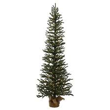 4ft pre lit pine artificial tree in burlap base with clear