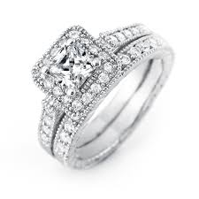 wedding rings set cut halo cz wedding ring set s addiction