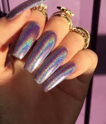 unicorn holographic nail pigment powder topcoat top coat and