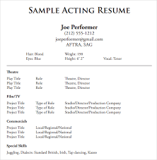 Resume Outline Examples by Acting Resume Templates