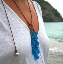 glass jewelry necklace images Sea glass drops necklace handmade beach glass jewelry from st jpg