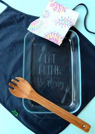 diy etched glass casserole dish made with the cricut cricut