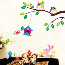 popular diy wall decal buy cheap lots from china cute owls playing trees wall stickers home decoration for kids rooms zooyoo removable pvc
