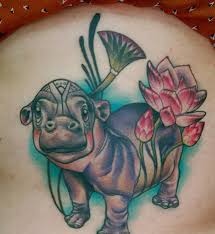 cute old colorful hippo tattoo on thigh tattooimages biz
