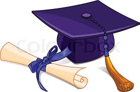 graduation diploma illustration of graduation cap and diploma on pile book stock