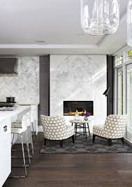 kitchen fireplace design herringbone tile wall white island with