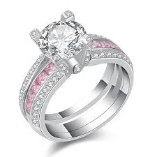 wide band engagement rings newshe jewellery pink cz 925 sterling silver