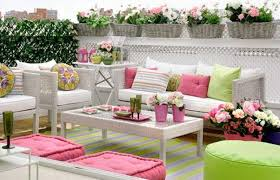Bright Pink And Green Colors For Outdoor Home Decorating In - Outside home decor ideas