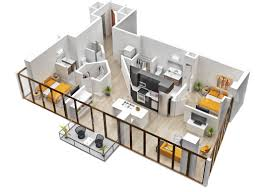 architectural plan of two bedroom flat home design