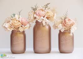 Rose Gold Home Decor by Rose Gold Decor Painted Mason Jars Fall Home Decor Wedding Vase