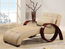 Chaise Lounge With Arms Beige Leather Modern Chaise Lounger W Round Mahogany Arms