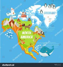 cartoon map north america continent riversmountains stock vector
