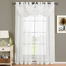abri white waterfall grommet crushed sheer valance 24x24 inches