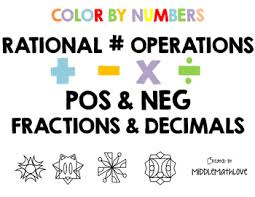 rational number operations worksheets color by numbers