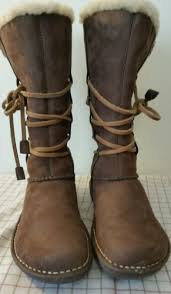 womens ugg boots with laces ugg australia s n 1634 sheepskin lined brown leather lace up boots