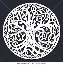 laser cutting template decorative celtic tree stock vector