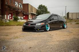 custom honda civic si exotic blue avant garde rims enhancing custom stanced honda civic