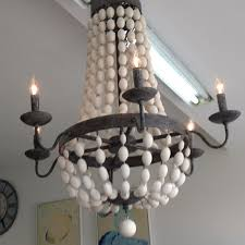 bead chandelier seaside bungalow wood bead chandelier