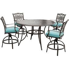 Patio Furniture Bar Height Set - hanover traditions 5 piece aluminum round outdoor bar height
