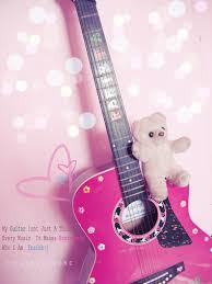 wallpaper pink guitar pink guitar with teddy by yanilavigne on deviantart