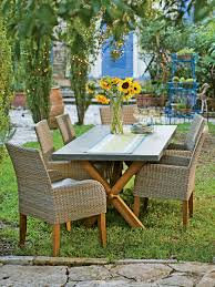 Resin Wicker Patio Dining Set - rustic farmhouse dining table set trestle table resin wicker