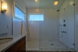 Windows In Bathroom Showers Open Concept Shower With Glass Partition And No Door Windows
