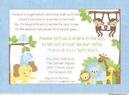 jungle safari twin birthday invitation double fun monkeys