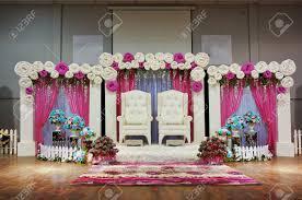 Wedding Stage Decoration Malay Traditional Wedding Stage Decoration Stock Photo Picture