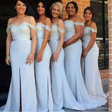 cheap light blue bridesmaid dresses slit bridesmaids dresses light sky blue off the shoulder mermaid