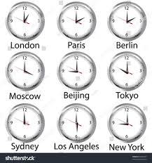 timezone clock clocks showing time around stock vector 49392967