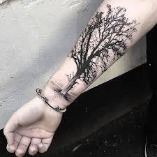 left shoulder grey and black tree