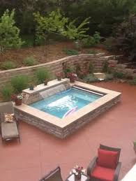 swimming pool ideas for small backyards narrow pool with hot tub firepit great for small spaces in