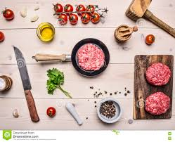 healthy foods cooking concept home cooking burgers mince in a