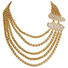 multi chain necklace images Yves saint laurent crystal and gold toned multi strand chain jpg
