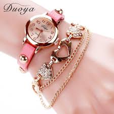 bracelet chain watches images Duoya brand fashion watches women luxury rose gold heart leather jpg