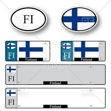 template of car plate number with flag of finland and oval car