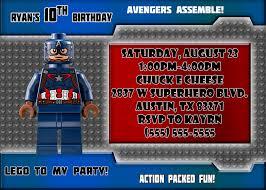 Lego Invitation Cards Captain America Birthday Invitations Kustom Kreations