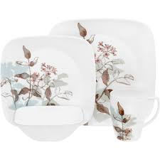 Corelle 76 Piece Dinnerware Set Corelle Squares Twilight Grove 16 Piece Dinnerware Set Walmart Com