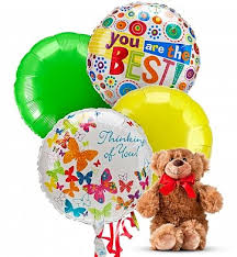 balloon delivery utah 4 mylar balloons and a plush teddy