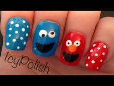 Easy Nail Art Characters | elmo and cookie monster nails nails pinterest cookie monster nails