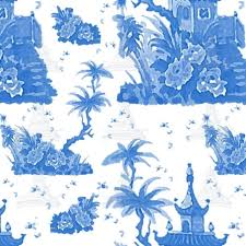 chinoiserie wrapping paper blue pagoda watercolor toile chinoiserie gift wrapping paper by