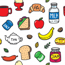 seamless pattern food food and drink seamless pattern in doodle style vector premium